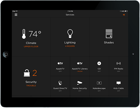 Black Ipad with smart home interface